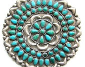 Zuni Style Cluster Brooch Pin Pettipoint Petit Point Turquoise Sterling Silver