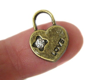 Bronze Charms : 10 Antique Bronze Rhinestone Heart Charms | Brass Ox Heart Charms -- Lead, Nickel & Cadmium Free Jewelry Findings 05416.J4I