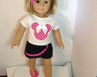 18 inch doll (modeled by American Girl) Minnie Mouse shirt and skort set