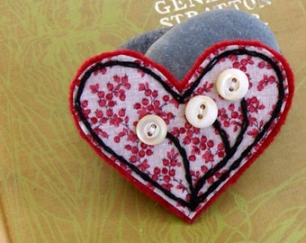 Hand Embroidered Fabric felted heart  pin brooch