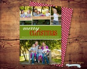 PRINTABLE - Merry Christmas - Photo Holiday Card color of your choice(digital file) DIY printing - Double Sided Available