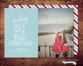 PRINTABLE - Wishing you a very Merry Christmas - Photo Holiday Card color of your choice(digital file) DIY printing - Double Sided Available