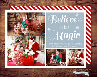 PRINTABLE Believe in the Magic of Christmas - Photo Holiday Card - red and green (digital file)  DIY printing - double sided available