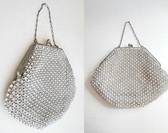 Vintage Rhinestone Evening Wristlet Bag / Prong Set Crochet Formal Handbag / Wedding Bride's Purse