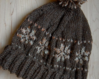 Brown Wool Hat with Snowflakes, 100% wool Pom-Pom Hat