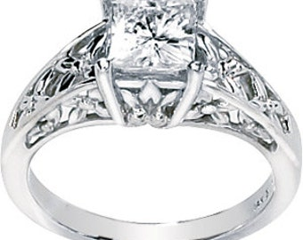 1.25  ct  6mm  Square Moissanite Solid 14K White Gold Antique Style  Engagement Ring-ST74335