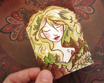 Lady of the Forest Original ACEO Mini Illustration