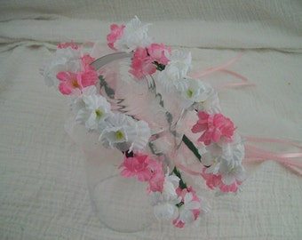 Pink and White Flower Girl Hallows - Flower Girl Head Pieces - Photo Props - Fairy Princess - Dress up - Lots of Colors Available  2 Pieces