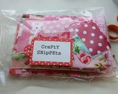 PINK Cotton Fabric Scraps Bag. Fabric scrap bundle selection of designer fabrics, florals, hearts, cars, plain cottons. Ideal craft supply.