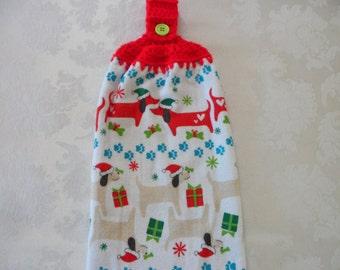 Double Hanging Kitchen Towel Dogs with Santa HatsTowel Towel Christmas Towel