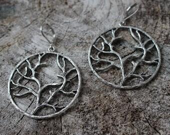 Boucles arbre en metal couleur argent