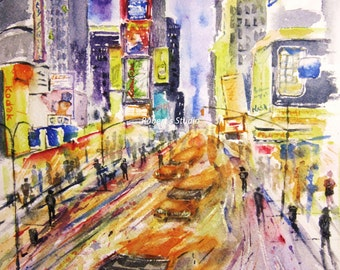 New York City Print Of Original Watercolor Painting, city street scene city cabs, urban landscape watercolor art NYC lights, cityscape.