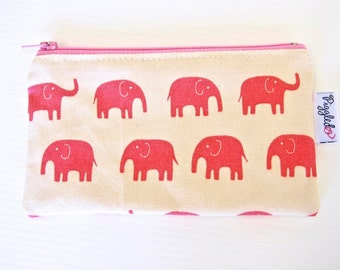 Mini Wet Bag / Coin Purse / Makeup Bag with Waterproof Lining - Pink Elephant