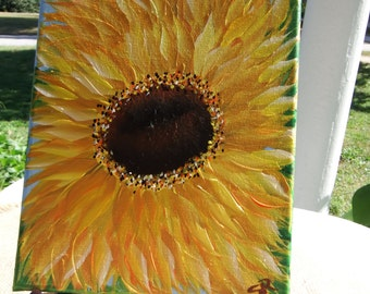 Hand painted sunflower canvas, 8 x 10 sunflower canvas, sunflower art canvas, abstract sunflower canvas acrylic painting