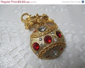 Holiday Bauble Rhinestone  Brooch Sparkling