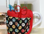 She Who Sews Buttons Cross Stitch Sewing Mug Organizer Caddy
