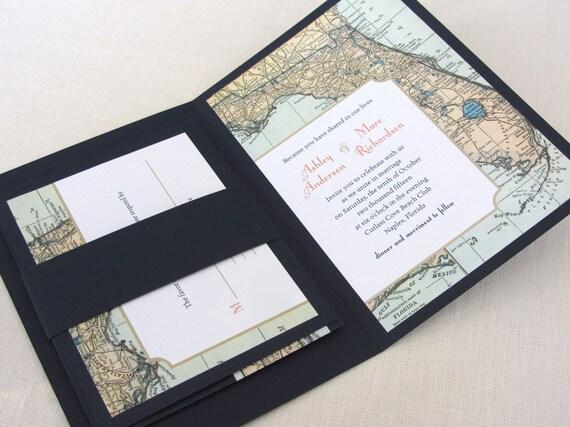 Florida Map Wedding Invitation Booklet