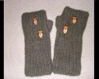 Owls in tree-hand knit  gray wrist warmers fingerless gloves mittens women men girl boy unisex