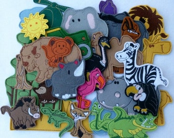 Savanna (big package - 30 pieces) - felt toy with magnetic layer on the back