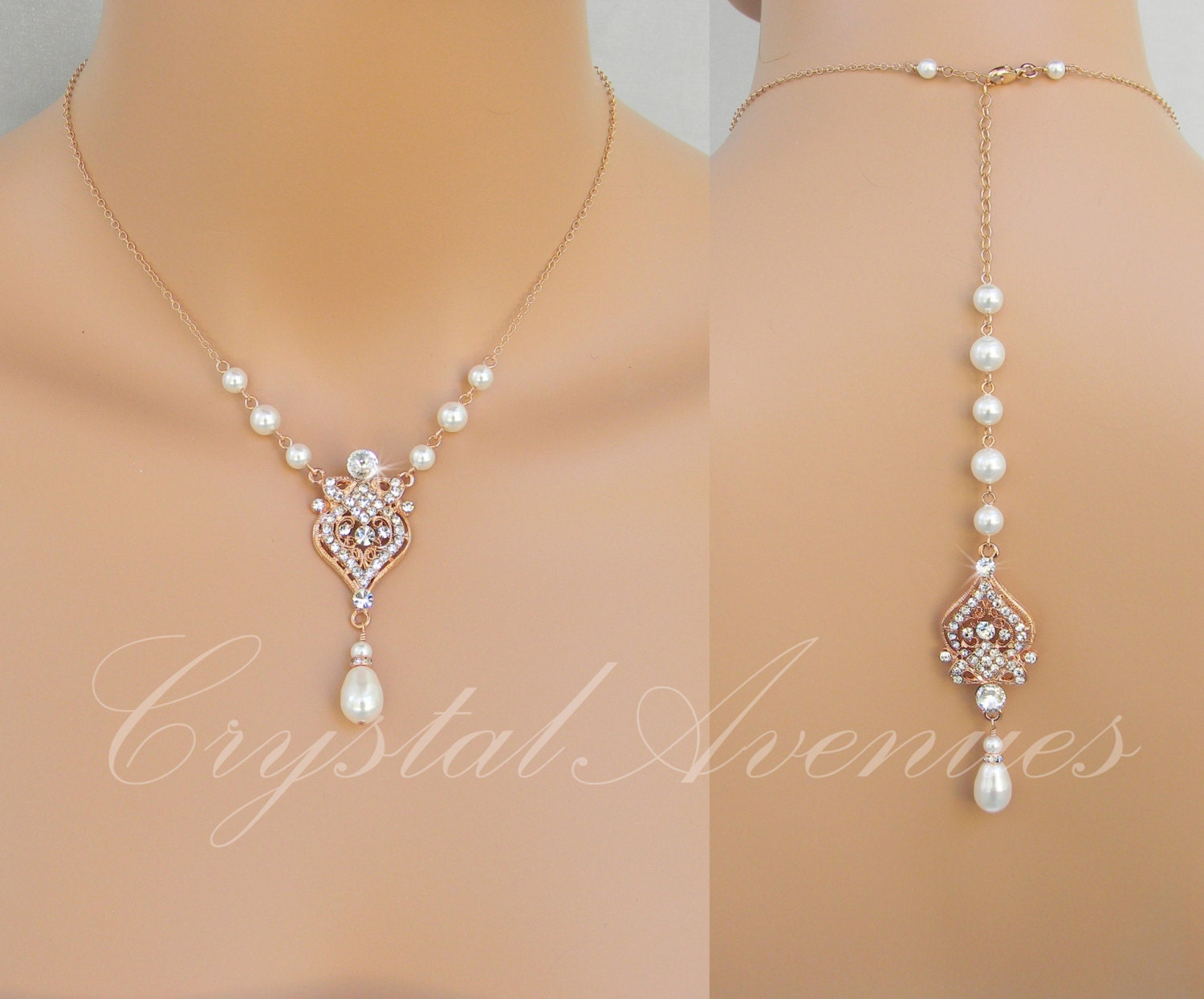 Backdrop Bridal Necklace Rose Gold Wedding Necklace Pearl