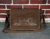 Locomotive Engine Blueprints - Cotton Canvas Messenger Bag -