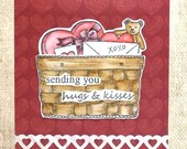 Valentines Day Card, Sending Hugs & Kisses, Valentines Basket Card