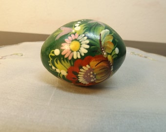 Wooden Ukrainian hand painted egg . Floral. Hand painted. Green.Beautiful.  Library.Home decor. Office decor. Shelf decor.Signed.Gift