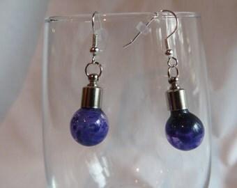 Purple Bulb Earrings on Silver Ear Wires