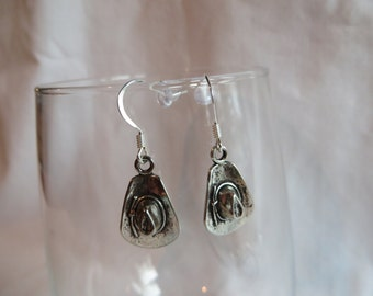 Silver Cowboy Hat Earrings, earrings, hat, cowboy, silver, dangle