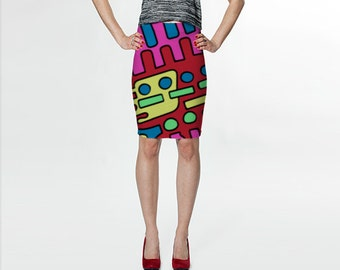 Fitted Skirt - Tube Skirt - Teen Skirt - Printed Skirt- Pencil Skirt - High Waisted Skirt - Evening Wear
