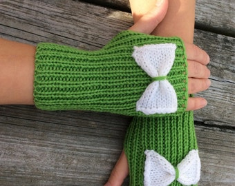 Bow Gloves, Bow Fingerless, Knit Gloves, Knit Gloves with Bow,