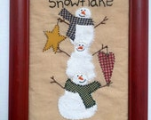Primitive Snowmen Stitchery, Hand Painted And Hand Stitched Framed Wall Hanging - Snowflake Collector