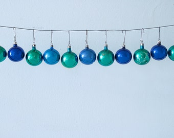 Set of 11 Green and Blue Vintage Christmas Glass Ornaments