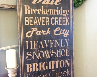 Extra Large hand painted wood sign - create your own - favorite places 18x36 canvas