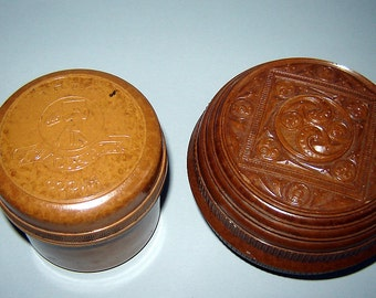 2 Old VINTAGE Unique Brown Relief Different BAKELITE BOX Screw Cap Rare !!!