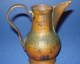 Antique Ottoman TURKISH COPPER Hand  HAMMERED Small Jug pITCHER w/ sILVER Coin