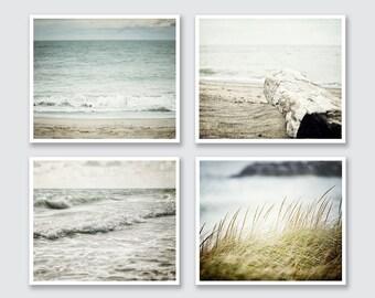 Beach Decor, Beach Art, Beach Prints or Canvas Wraps, Blue Ocean Art, Blue Beach Art, Beach Wall Gallery Set of 4 Prints, Pastel Beach.