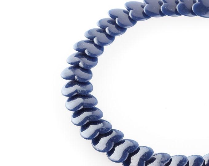 "Vintage Blue Heart Necklace Navy   Choker Plastic US Jewelry 1970s 1980s 1990s New Old Stock Deadstock Unworn 16"" Choker"