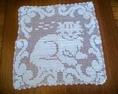 Vintage Crochet Wall Art Doily Crocheted Cat