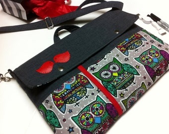 Laptop bag-Macbook,MS SurfacePro,LenovoYoga,Sumsung chromebook,Acer, Hp, ASUS-padded-POCKETS-Owls and Red