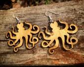 Wood Octopus Dangle Earrings