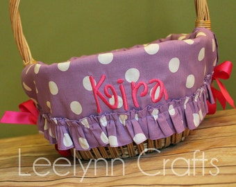 Personalized Easter Basket Liner - Purple Polka Dot Ruffled - Personalized with Name - Custom Basket Liner