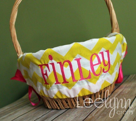 Personalized Easter Basket Liner Yellow Chevron