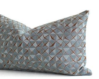 Lumbar Pillow Cover Blue Pillow Geometric Upholstery Fabric Decorative Pillow Oblong Throw Pillow Cover 12x24 12x21 12x18 12x16 10x20