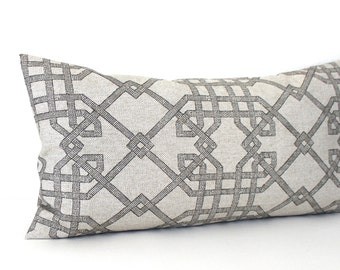 Lumbar Pillow Cover Beige Black Geometric Lattice Decorative Accent Oblong Throw Pillow Cover 12x24 12x21 12x18 12x16 10x20