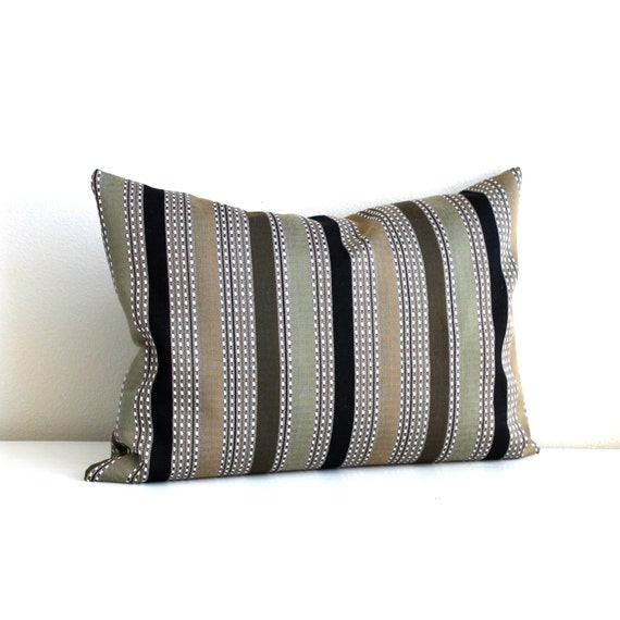 Decorative Black Lumbar Pillow : Lumbar Pillow Cover Black Beige Stripe Throw by couchdwellers