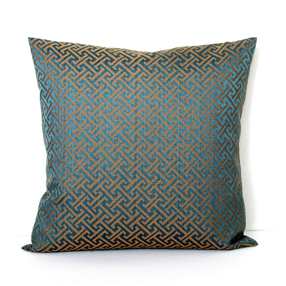 Decorative Teal Bronze Greek Key Throw Pillow Accent Cushion