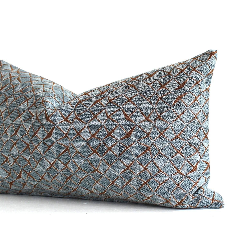Decorative Pillow Cover 12x16 : Lumbar Pillow Cover Blue Pillow Geometric Upholstery Fabric