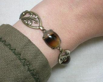 Banded Agate Bracelet by Symmetalic, Sterling Silver Vermeil Edwardian era