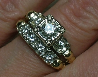 1940s Wedding Set, Mid Century Illusion Head, Halo, Diamond Band. Two Tone Gold. Size 6 3/4
